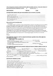 English worksheet: exam paper for elementary students