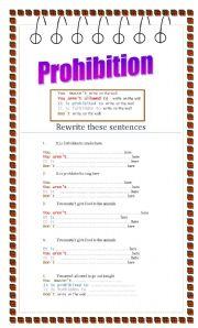 English Worksheet: Prohibition