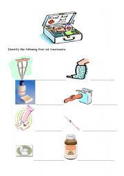 English Worksheet: First Aid Kit