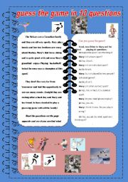 English Worksheets: Play the game in 10 questions : pair work/ reading/ speaking / writing