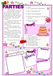 English Worksheets: UNIT 8: PARTIES