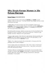 English Worksheet: Why Single Korean Women in 30s Refuse Marriage( korea times article)