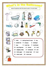 English Worksheet What S In The Bathroom