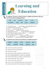 English Worksheets: Vocabulary: LEARNING AND EDUCATION