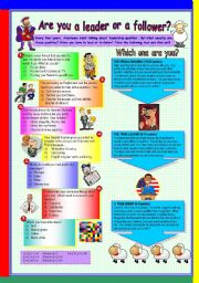 English Worksheet: ARE YOU A LEADER OR A FOLLOWER?+ WE WEREN�T BORN TO FOLLOW (BON JOVI)