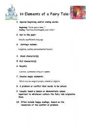 10 Elements of a Fairy Tale - ESL worksheet by liati