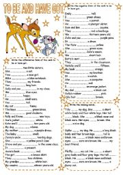 English Worksheet: TO BE AND HAVE GOT