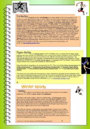 English Worksheet: Winter sports reading comprehension