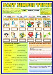 English Worksheet: Past Simple Tense  (B/W & Keys)