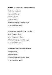 English Worksheets: Wheels: Transportation Chant
