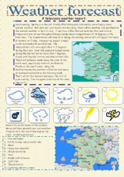 English Worksheets: weather forecast