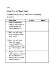 "English worksheets: Survey Prep for Story: ""David Swan"""