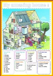 English Worksheets: my amazing house