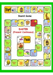 English Worksheet: EASTER plus Present Continuous BOARD GAME + key (3 pages)
