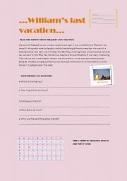 English worksheet: William´s last vacation