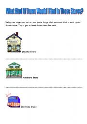 English Worksheets: What Kind Of Items Would I Find In These Stores?