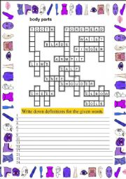 English Worksheet: crossword on body parts ( 2 pg )