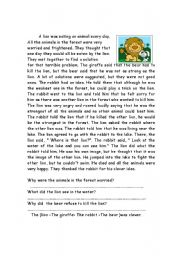 English Worksheets: lion and rabbit