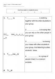 English worksheets: Teamwork