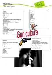 English Worksheets: Taboos and Issues. Who needs guns?