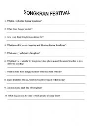 English Worksheets: SONGKRAN questions