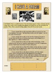 English Worksheet: I have a dream - Listening activity