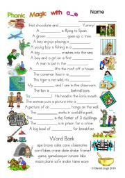 English Worksheets: 3 Magic pages of Phonic Fun with a_e: worksheet, story and key (#21)