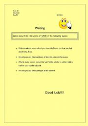 English Worksheets: Testing writing