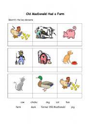 English Worksheets: Old MacDonald Had a Farm matching exercise