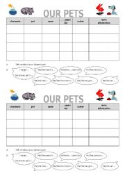 English Worksheets: Pets (partner interview)