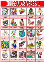 English Worksheets: Irregular verbs pictionary (1/4)