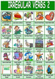 English Worksheets: Irregular verbs pictionary (2/4)