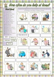 English Worksheet: HOW OFTEN DO YOU HELP AT HOME?
