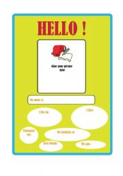 English Worksheet: WHO I AM! a poster for the classroom