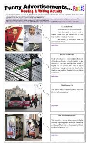 English Worksheet: 14 FUNNY ADVERTISEMENTS - ( 5 pages - Part 3 of 3) - Writing + Describing Pictures -  5 Activities
