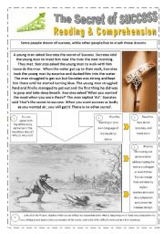 THE SECRET OF SUCCESS -  (4 pages) with 8 READING & COMPREHENSION (WRITING ACTIVITY) and instructions + story