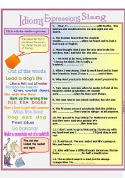 English Worksheet: Idioms Expression Slang