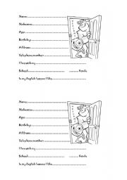 English Worksheets: First lesson cards