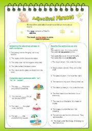 English worksheet: Adjectival Phrases