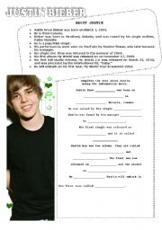 English Worksheet: English lesson with Justin Bieber Part I