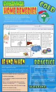 English Worksheet: International Home Remedies (If / When) + Reading + Exercises