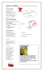 English Worksheets: I�m a believer - (Shrek Soundtrack)