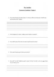 English Worksheets: Outsiders Chapter One Questions