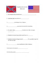 English Worksheet: Beginning of Civil War Sheet