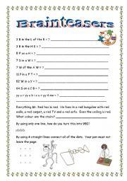 English Worksheets: Brainteasers