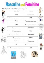 English Worksheet: Masculine And Feminine