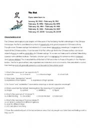 English Worksheet: Reading Comprehension - Characteristics of Chinese Zodiac Rat