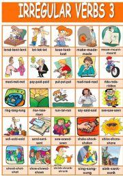 English Worksheets: Irregular verbs pictionary (3/4)