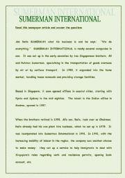 English Worksheets: READING COMPREHENSION - Sumerman International