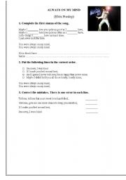 English Worksheets: Always on my mind - Elvis Presley